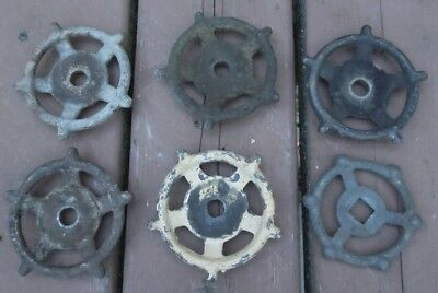 "VINTAGE  6 CAST IRON WATER VALVE HANDLES 3 1/2"" dia.. INDUSTRIAL ART STEAMPUNK"