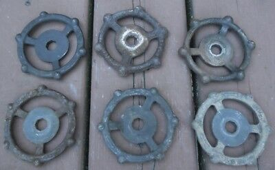 "(6) OLD CAST IRON WATER VALVE HANDLES 3 1/2"" dia.. INDUSTRIAL ART STEAMPUNK"