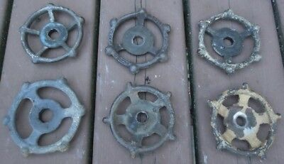 "(6) VTG  INDUSTRIAL CAST IRON WATER VALVE HANDLES 3 1/2"" dia..  STEAMPUNK  ART"