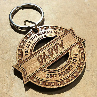 Personalised Birthday Wooden Keyring Dad Daddy Grandad Uncle Papa Pops Gift