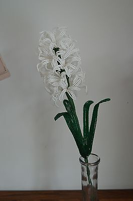 NEW Handmade French beaded flowers White Hyacinth flower