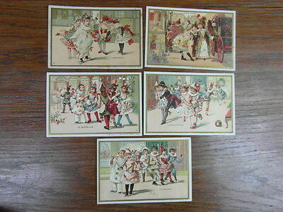 (PC) 5 x CHROMO TRADE CARDS AU BON MARCHE Minot Serie 7 DANSES COSTUMEES