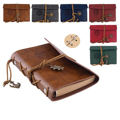 New PU Leather Cover Nautical Applied NoteBook Sketchbook Bound Blank Page Diary