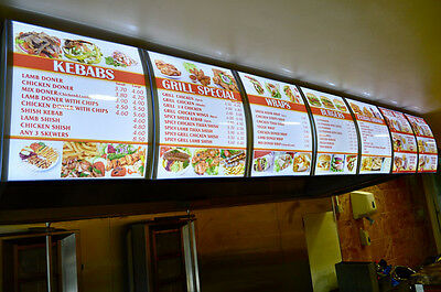 1 50x60cm LED Curved Menu Light Box with your Restaurant Take Away Pizza Artwork
