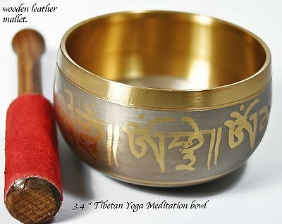 Tibetan yoga Meditation Singing bowl with Leather Padded Mallet.