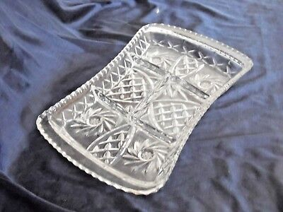 Vintage Elegant Cut Crystal Savoury Plater W/ 6 Compartement