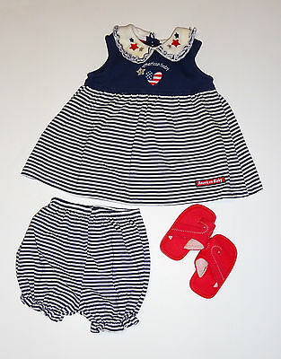 pre-owned AMERICAN BABY girls Cotton Blend Holiday Dress, Panty, Shoes sz 3-6 mo