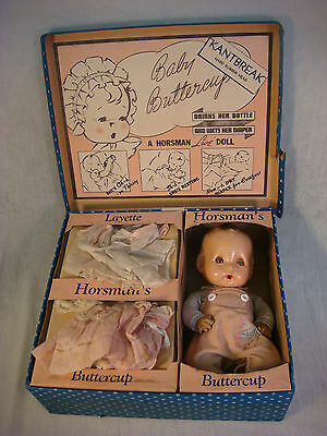 1938 HORSMANS BABY BUTTERCUP DOLL ORIGINAL BOX LAYETTE KANTBREAK  RUBBER HEAD