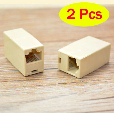 2Pcs Ethernet RJ-45 Female Connections LAN Adapter Ethernet network Plug Routers