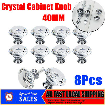 8x 40MM Crystal Glass Clear Door Furniture Cabinet Drawer Knobs Handles Pulls