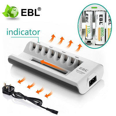 8 Slot Intelligent Fast Charger For AA & AAA Ni-MH Ni-Cd Rechargeable Batteries