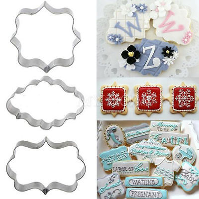 3x Plaque Frame Cutter Mould Cookie Biscuit Fondant Cake Chocolate Decorating UK