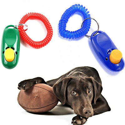 Pet Dog Cat Training Trainer Clicker Click Wrist Strap Guide Toy Randomly