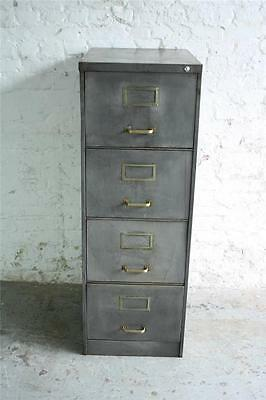 VINTAGE INDUSTRIAL STRIPPED METAL FILING CABINET CHEST DRAWERS MIDCENTURY #1040