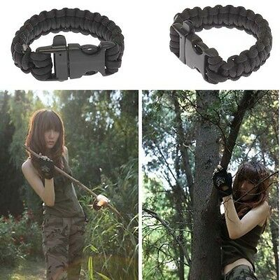 Military Survival Bracelet Buckle with Whistle Outdoor Camping Kit Tool