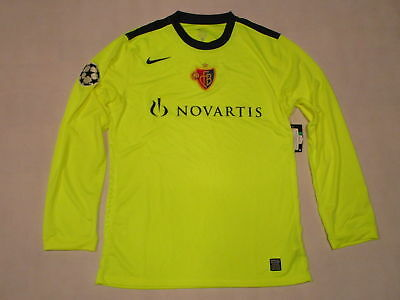 Nike FC BASEL Trikot Jersey Camiseta Maglia Maillot NEON Gelb 09/10 CL Patch XL