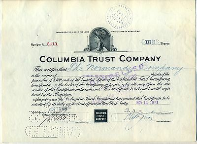 Columbia Trust Company Stock Certificate New York Bank