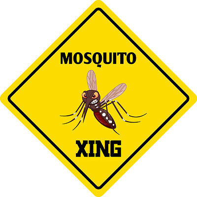 """*Aluminum* Mosquito Crossing Funny Metal Novelty Sign 12""""x12"""""""