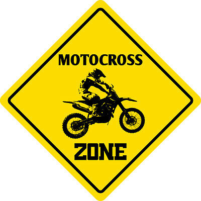 "*Aluminum* Motocross Zone Funny Metal Novelty Sign 12""x12"""