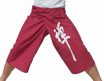 Thin Cotton 3/4 Leg Casual Every Day Quality Dark Red - Chinese Zen Print sz XL