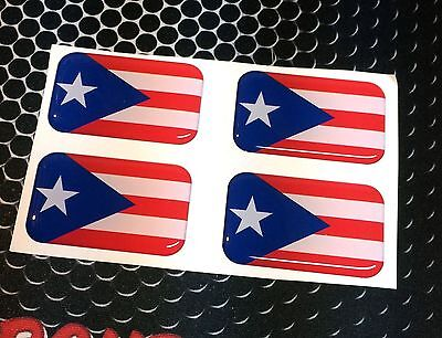 """Puerto Rico Flag Domed Decal Emblem Car 3D Sticker 1.75""""x1.1"""" Set of 2 or 4"""