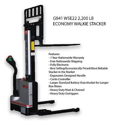 G941 Economy Electric Stacker Pallet Jack  2200Lb. Free Shipping