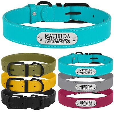 Real Leather Dog Collar Personalized Soft Collars ID Tag Engraved for S M L Dogs