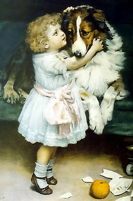9x6 Print Broke Vase Naughty Victorian Girl Tippy Toes Secret to Pet Collie Dog