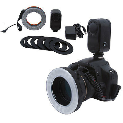Bestlight 48 LED Rechargeable Video Camera Macro Ring Light + 6 Adaptor Rings US