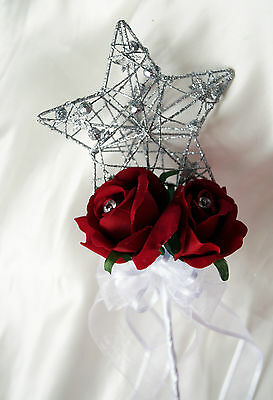 Flowergirl Wand   Silver Star with red roses  weddings, princess wand