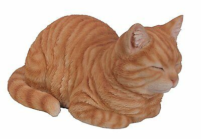 Brand New Dreaming Ginger Cat Garden Ornament