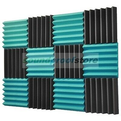 2x12x12 (12 Pack) TEAL/CHARCOAL Acoustic Wedge Soundproofing Studio Foam Tiles