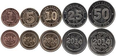"Zimbabwe 1, 5, 10, 25, 50 Cent 2014 ""BOND COIN"""