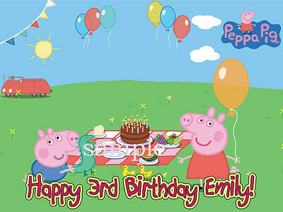 Peppa PIG Edible Photo CAKE Image Icing Topper Decoration FREE SHIPPING