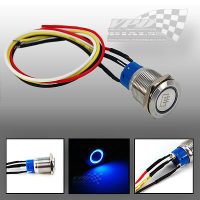 Push Button 12V window demist panel switch led  ring light blue custom light