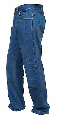 Men's Motorbike Motorcycle Sky Blue 14oz Trousers Jeans With Protective Lining