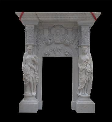 Massince Hand Carved Marble Figural Estate Entry Way - Entry 46