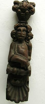 Stunning Antique Carved Wood Statue Figure Architectural Salvage Piece Corbel