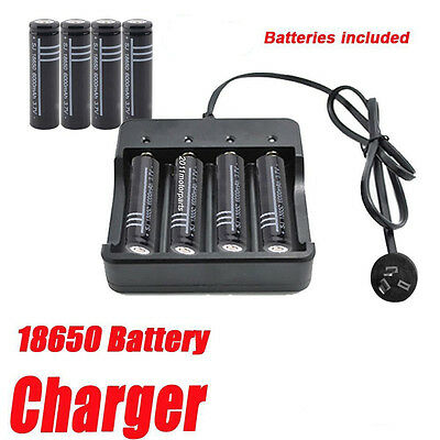 18650 3.7V 6000mAh Lithium ion Rechargeable Battery + AU Plug Battery Charger BK