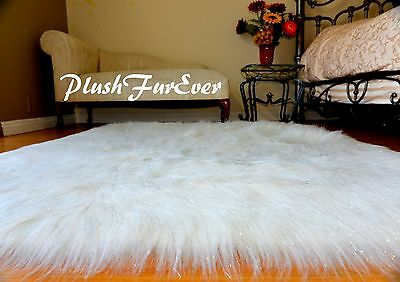 Nursery Area Rugs Faux Fur White Rectangle Mongolian Furry Accents Rugs NEW