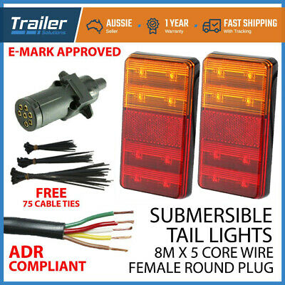 Trailer Wire Light Kit Pair Of Led Trailer Tail Lights, 1 Xplug, 8Mx 5 Core Wire
