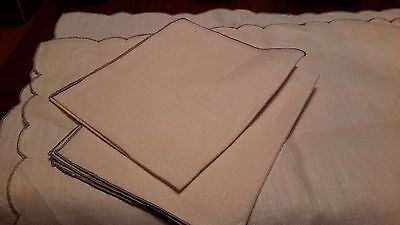 Set of 2 vintage linen placemats and matching napkins ivory scalloped