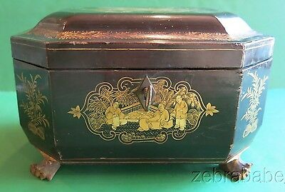 Antique Chinese Tea Caddy Laquer 19th Century w Key