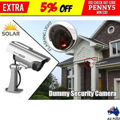 Solar Power Dummy Fake Outdoor CCD CCTV Security Surveillance Camera LED Light