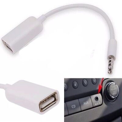 White Male Plug Jack 3.5mm To USB 2.0 Female AUX Audio Adapter Converter Cable
