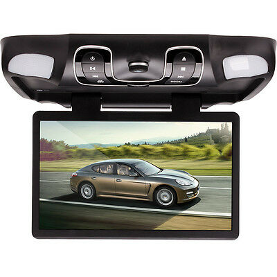 "Grey / Black 15.6""  Car Roof Mount Overhead Monitor DVD Player Games FM USB SD"