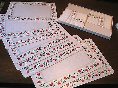 UNUSED! Vintage BOXED SET CARDBOARD PAPER Placemats Table Mats Napkins-RED ROSE!