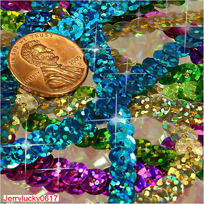 Fashion HOT New 5Yards 6mm Sequins Paillettes  Line Sew on Trim Spangles U pick