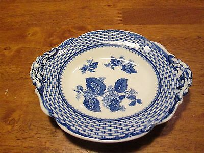 RARE Ruskin Cauldon England  Oval Footed Bowl Flow Blue Basket  Weave 6 3/4 Wide