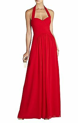 3a0473a7127 New Bcbg Max Azria Rouge Red Selene Halter-Neck Ruched Gown Iqi65B50 al212  Sz